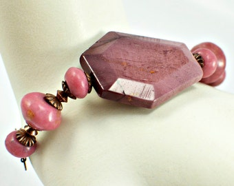 Imperial Jasper Bead and Chain Bracelet