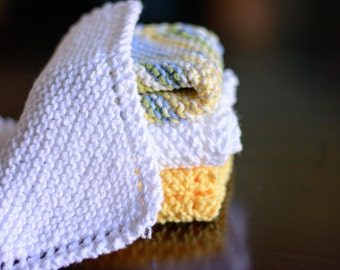 Striped Yellow Hand Knit dishcloths