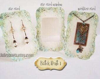 24 ZOE BATIK Print #1 Earring Cards, Jewelry cards, Earring Display, Earring Holder, Necklace Holder, Custom Earring Card