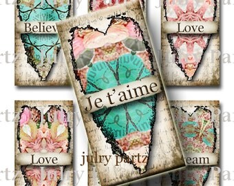 Springtime in Paris HEARTS, 1x2 images, Printable Digital Images, Cards, Gift Tags, domino, Magnets