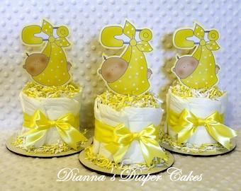 Baby Diaper Cakes Stork Bundles Set of 3 Shower Centerpieces Yellow Neutral