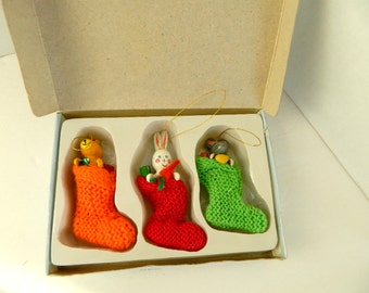 Vintage Stocking Ornaments with wooden animals set of 3 in original box