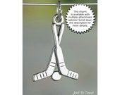 Hockey Charm Sterling Silver Sticks and Puck Sports Gear Solid .925