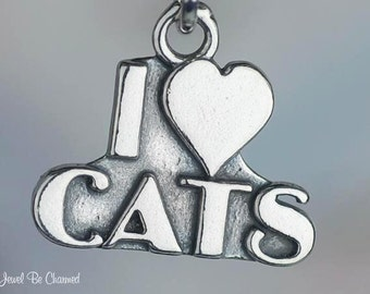 Sterling Silver I Love Cats Charm with Heart for Cat Lovers Solid .925