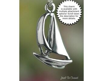 Sailboat Charm Sterling Silver Boat Nautical Ocean Water Sailing
