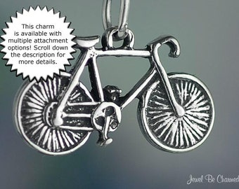 Bicycle Charm Sterling Silver Bike for Bicycling Cycling Sport .925