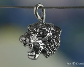 Sterling Silver Wildcat Bobcat or Tiger CHARM or PENDANT Solid .925