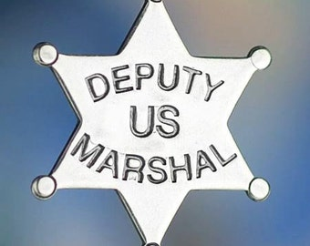 Sterling Silver Deputy US Marshal Charm Badge Law Officer Solid .925