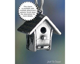 Birdhouse Charm Sterling Silver for Backyard Bird Lovers 3D Solid .925