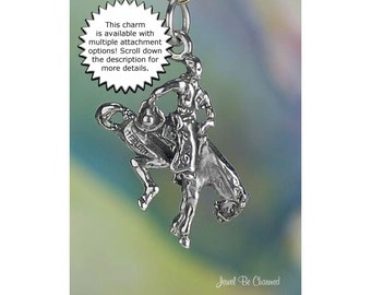 Bronco Charm Sterling Silver Bucking Rodeo Horse and Rider Solid .925