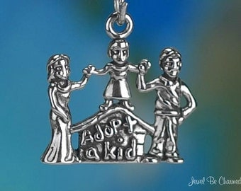 Sterling Silver Adoption Charm Adopt a Kid Child Family Solid .925