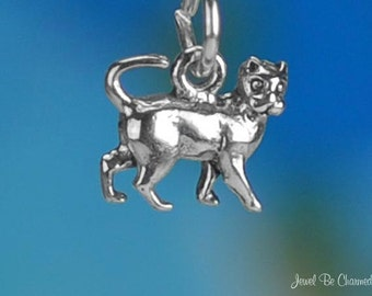 Miniature Sterling Silver Cat Charm Small Tiny Kitty Cats Solid .925