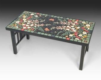 Rectangle, floxglove bleeding hearts butterfly floral mosaic tile table. Handmade ceramic mosaic art tiles.