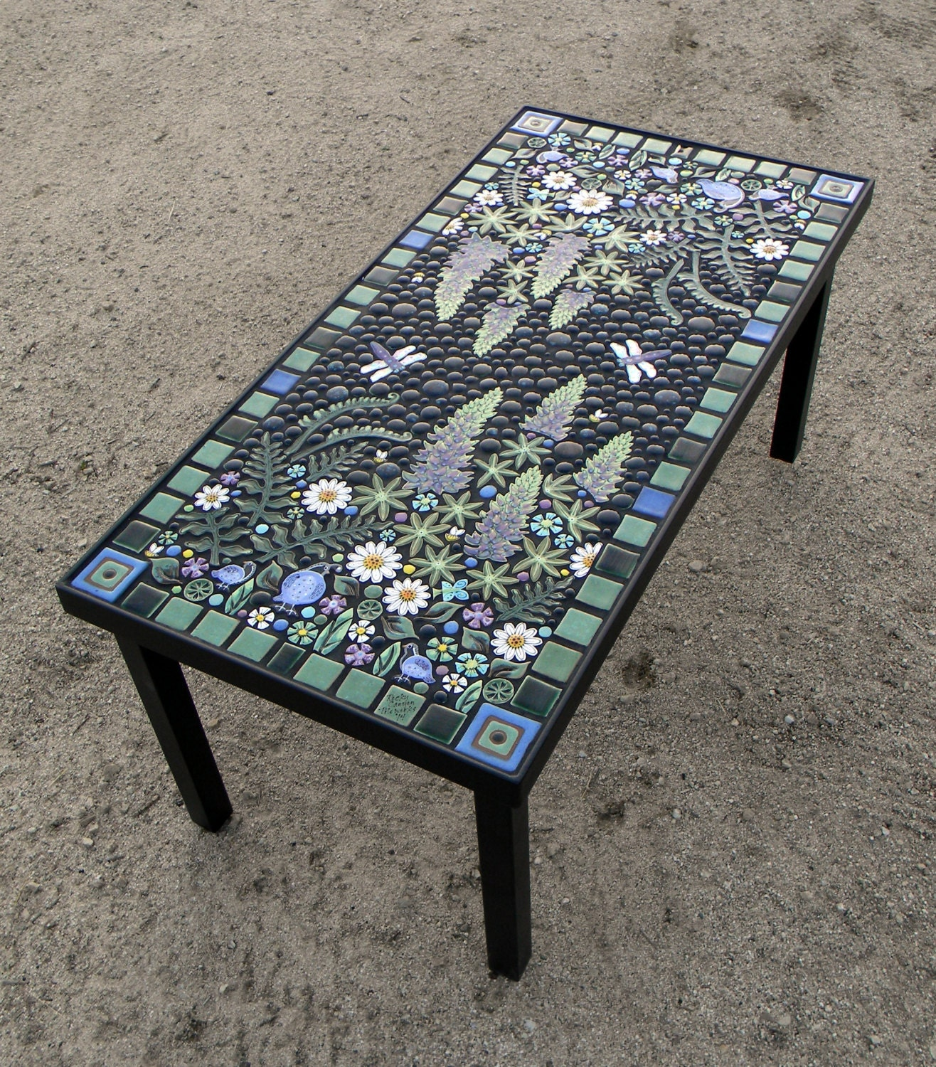 Rectangle lupine quail floral mosaic table Handmade ceramic