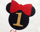 Personalized 1st Birthday Glitter bodysuit crown first birthday baby girl toddler glitter shirt ONE Red Black Gold Glitter Minnie