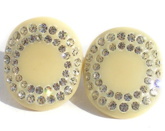 Vintage Celluloid Clip On Earrings in Ivory Celluloid with White Crystal Rhinestones - Vintage Jewelry Molded Plastic