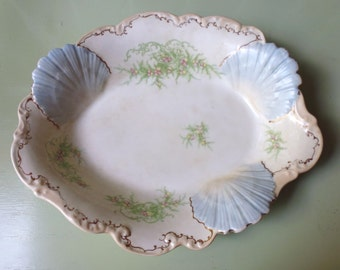 Antique ironstone china platter, seashells, La Francaise Porcelain, French China Company, 1900 - 1916