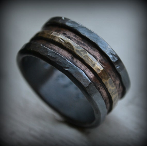 mens wedding band - rustic fine silver copper and brass - handmade artisan designed wide band ring - manly ring - custom hand stamping