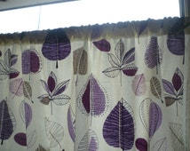 """Purple Grape Curtain Valance Window Cafe Curtain Taupe Funky Floral Rod Pocket Ruched 54"""" x 18"""" OR 14"""" 100% Cotton"""