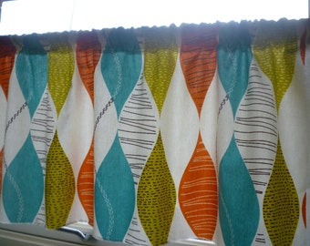 "Orange Blue Curtain Valance Window Cafe Curtain, Modern Rod Pocket Ruched 54"" x 18"" 100% Cotton"