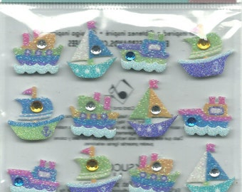 Jolee's Boutique  --  Boat Repeats  --  Dimensional  Glitter Stickers   --   NEW  (#761)   16 Pieces