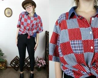 Vintage 90s American Flah, Patriotic Patchwork Denim Short Sleeve Shirt Sz XL