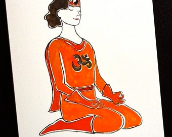 Yoga Hero pose thank you card with envelope.
