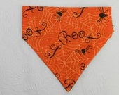 Classic Boo! Halloween Spider Web Scroll BOO Orange Theme Bandana. Great for Dog Cat Ferret-Reversible.  2 in 1 Over the Collar Bandana.