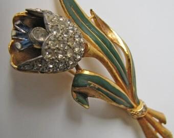 1930s Coro Quivering Tulip Brooch. Adolph Katz Design Trembler Brooch Pat 1939. Pave Clear Crystal Blue Baguette Rhinestones Green Enamel.