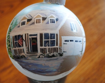 Hand Painted Custom Home ornament done from picture for great christmas gift - SAMPLE SOLD