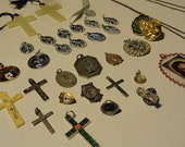 Religious medals, Crucifix, Catholic medals, Catholic cross, altered art suppliesmixed media supplies