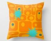 Mod Orange Pillow, Mid Century Modern Pillow,Modern Pillow, Geometric Pillow, Retro Pillow, Atomic Pillow