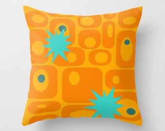 Mod Orange Pillow, Mid Century Modern Pillow, Modern Throw Pillow, Geometric Pillow, Retro Pillow, Atomic Pillow