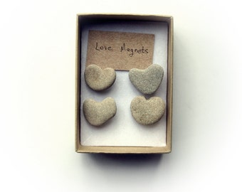 Wedding Favors Idea - Natural Heart Shaped Rocks Magnets - Beach Finds magnets - Unusual Magnets - Heart shaped magnets -Heart shaped rock