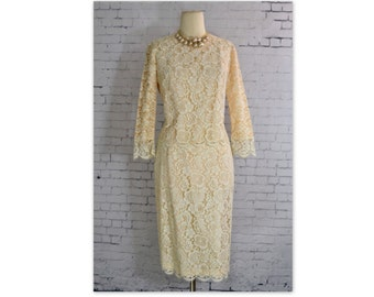 Vintage 1960's Cream Lace Two Piece Outfit // 60s Illusion Lace Top and Skirt