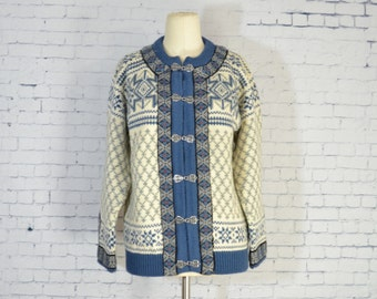 Vintage Dale of Norway Wool Cardigan Sweater, M 42