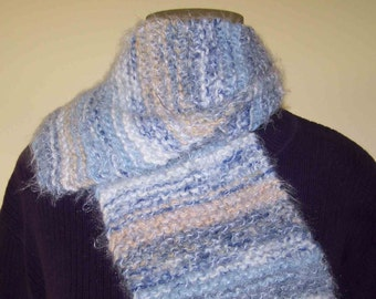 Hand Knitted Scarf - Woman's Scarf - Girl's Scarf - Soft Pastel Scarf-
