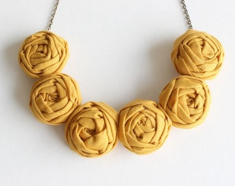 Mustard wedding, Mustard necklace, Mustard fabric flower necklace, Mustard statement necklace