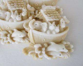 baby boy shower favor - 15 Noah's Ark Soap - animal baby shower favor, cream baby shower decor