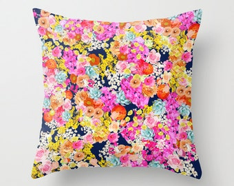 Bright Summer Bright Neon Floral Print Pillow Cover. Available in several colors, or customize with your own background colors.