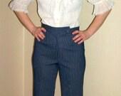 70s Wide Leg Navy Pinstripe High Waist Polyester Pants XS