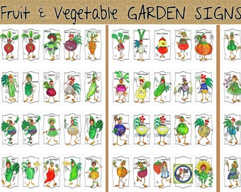 Garden Markers Choose 3  Humorous Fun Vegetable Artwork Plant Name Aluminum Sign Illustrations