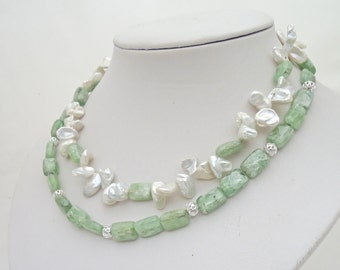 Green Kyanite and Pearls  Necklace, Double Strand Necklace , Elegant Necklace, Gemstone Necklace, Green and White Necklace, UK Seller