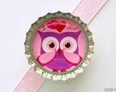 Owl Magnet, Bottle Cap Magnet, owl fridge magnet, owl baby shower favor, girl owl party favor, unique stocking stuffer, owl decor, owl theme