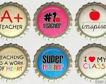 Teacher Magnet Set, 6 Bottle Cap Magnets, unique teacher gifts, for teachers, teacher appreciation, teacher gift idea, secret santa gift