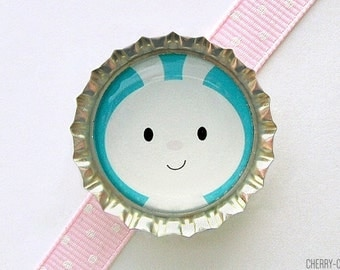 Blue Easter Bunny Bottle Cap Magnet - easter bunny party favor, bunny baby shower favor, bunny decor, bunny favor, bunny boy, easter rabbit