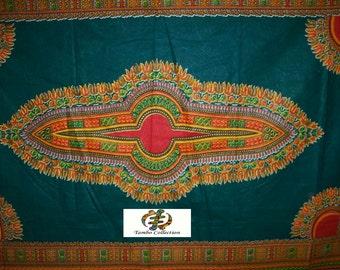 Wholesale 2 Yards Dark Green color dashiki fabric per panel/ Dashiki clothing/ Accessories/ Dashiki Bags/ Kitenge fabric/ Java print