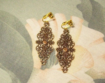 Large Lightweight Antiqued Copper Filigree Dangle Clip On Earrings or Pierced