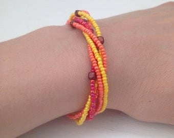 Yellow, Orange and Pink Beaded Bracelet, Yellow Seed Bead Bracelet, Orange Seed Bead Bracelet, Pink Seed Bead Bracelet, Beaded Bracelet