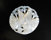 Vintage Carved and Pierced Mother of Pearl Bird Brooch